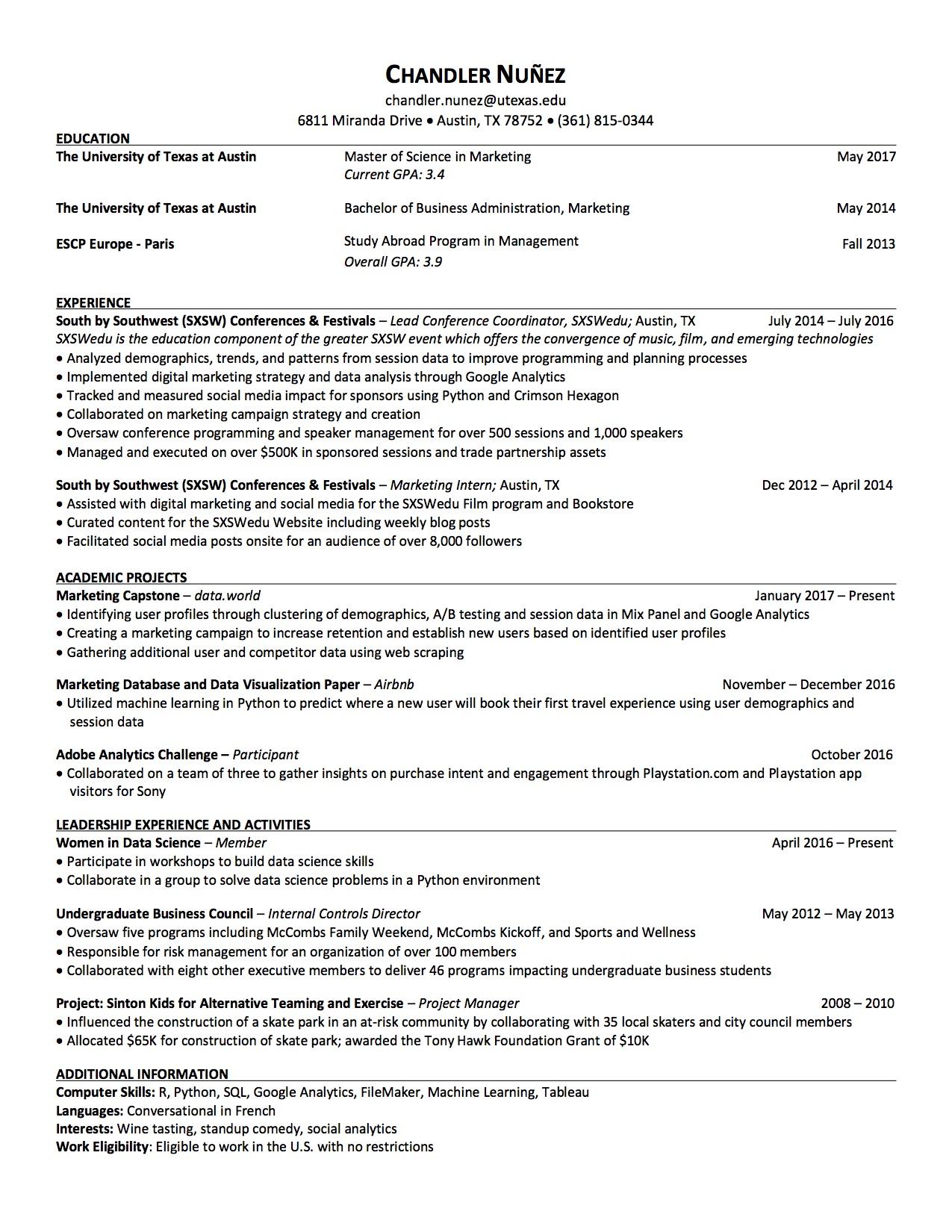 resume chanalytics